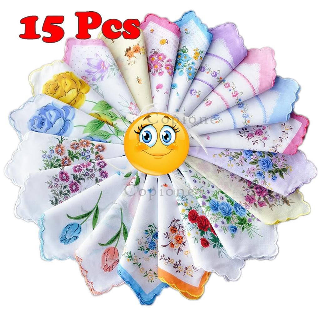 5/10/15 Uds muselina gasa de algodón cuadrado precioso estampado de flores pañuelo toalla al azar