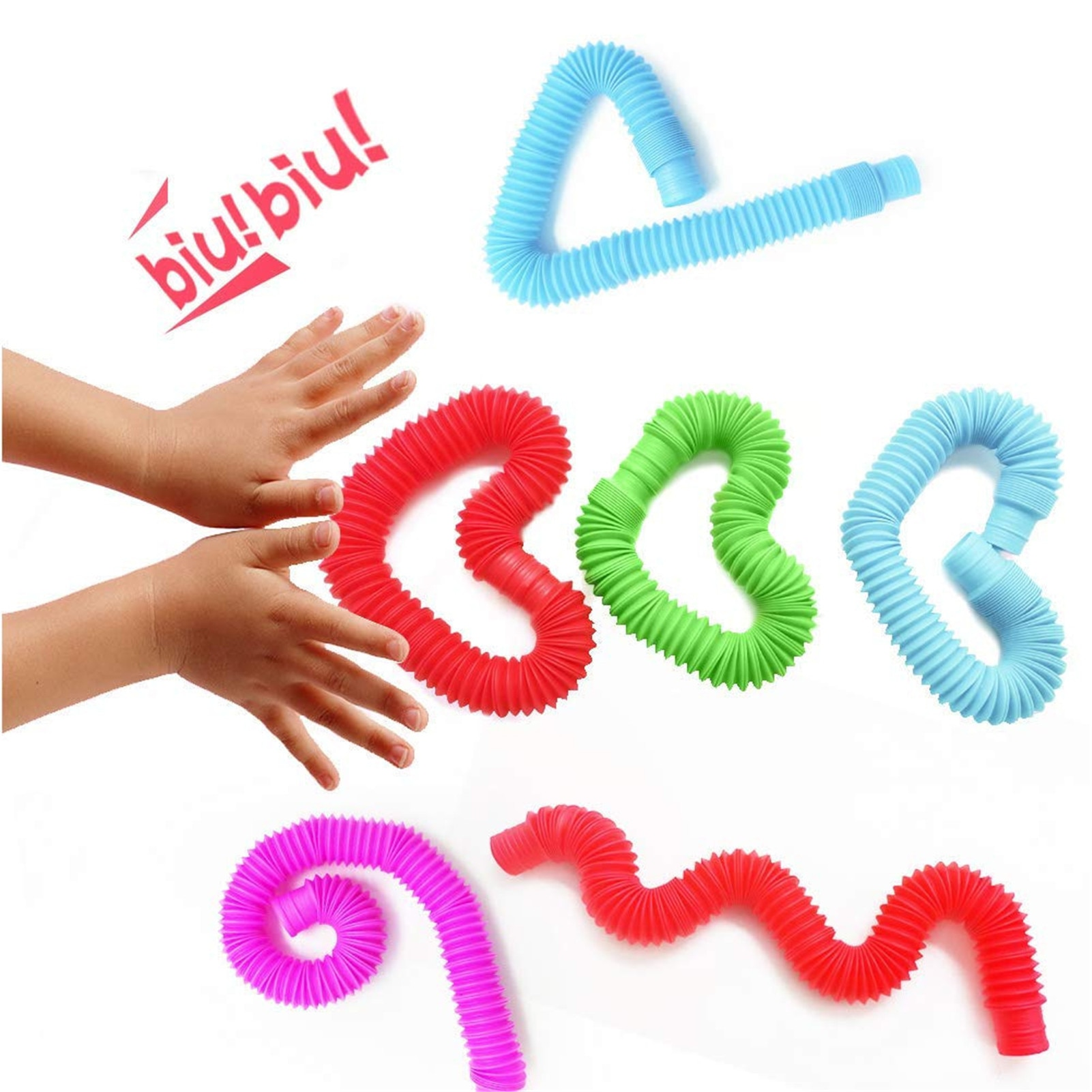 Fidget Pop Tube Toys Pipe Sensory Toys For Stress And Anxiety Relief Cool Bendable Multi-Color Stimming Toys For Kids enlarge