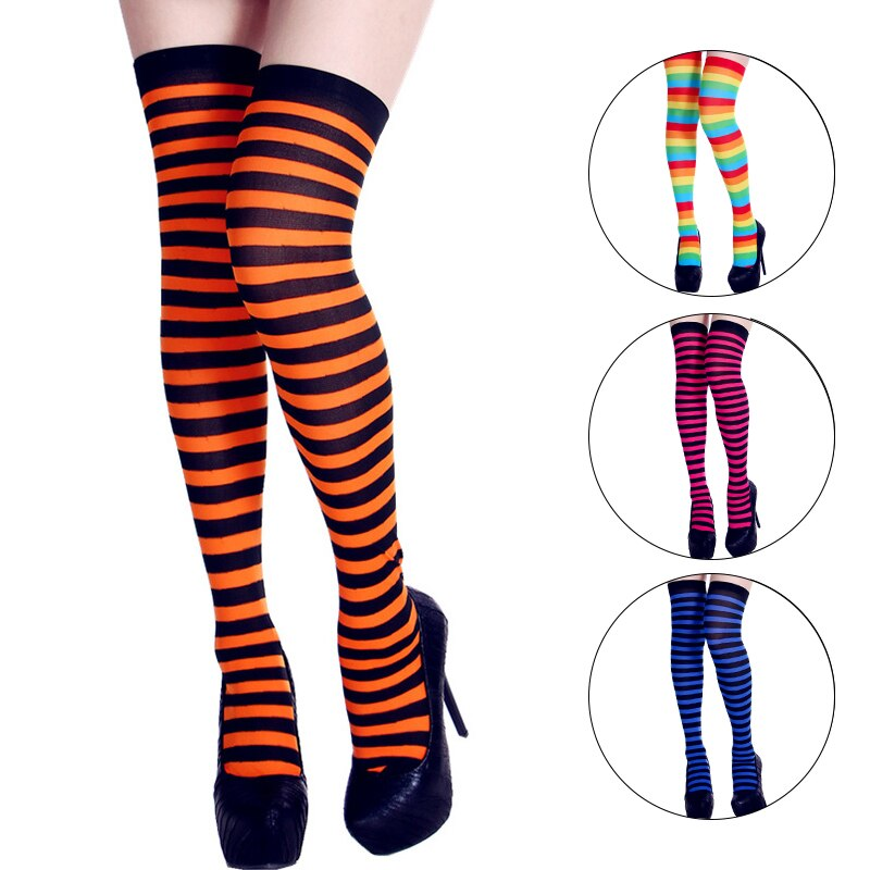 Neon Striped Women Stockings 2020 Fashion Streetwear High Knee Socks Female Elastic High Tight Stockings Yellow Orange