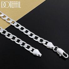 DOTEFFIL 925 argent Sterling 16/18/20/22/24 pouces 8mm plat côté Chhain collier pour femmes homme mode mariage bijoux de charme