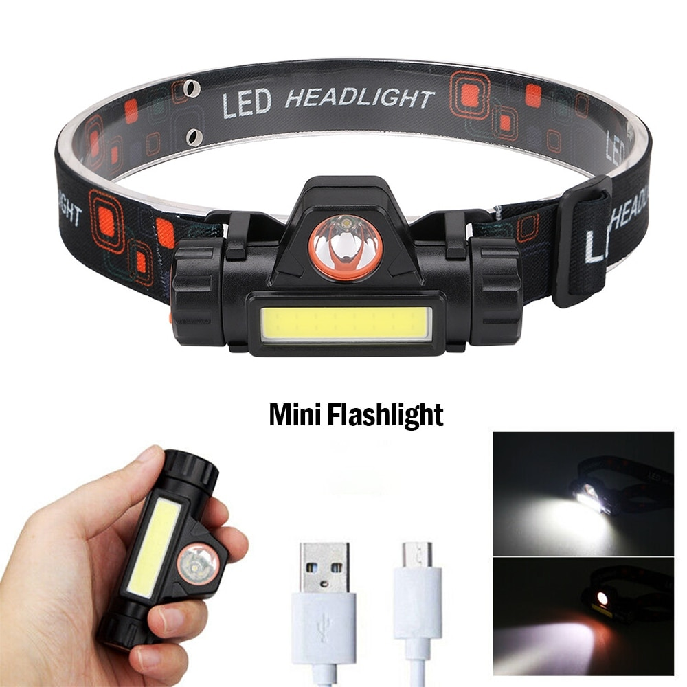 Portable Mini Flashlight Q5+COB Led Headlamp High Power Built-in 18650 Battery Outdoor Camping Headl