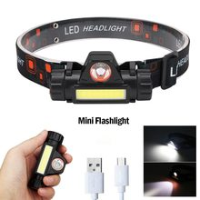Portable Mini Flashlight Q5+COB Led Headlamp High Power Built-in 18650 Battery Outdoor Camping Headl