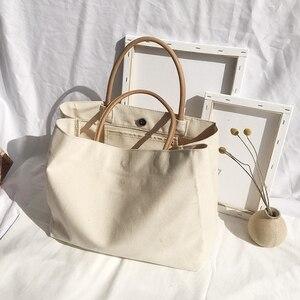 2020  New Women Canvas Tote Bag Fashion Korean Cloth Reusable Shopping Bag Leisure Shoulder Large Capacity Eco shopper Bags