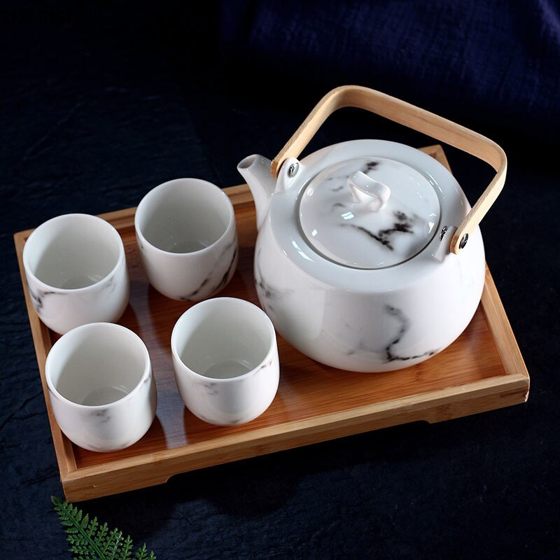 الشاي بعد الظهر مجموعة الشاي إبريق الشاي الكؤوس دعوى المعطرة الشاي خشبي صينية اكسسوارات المطبخ غرفة الديكور Porcelana الشاي مجموعات