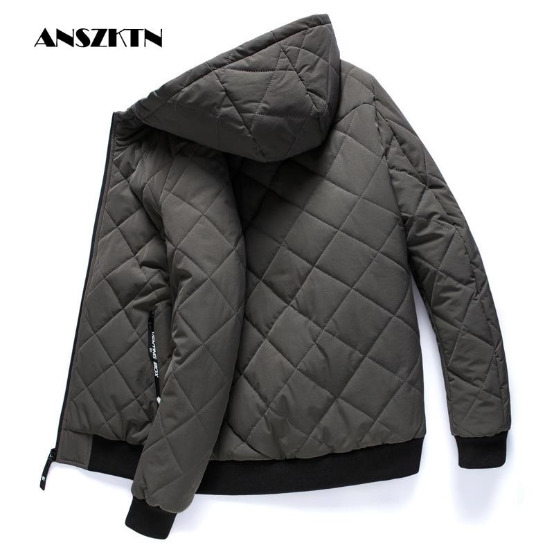 Новинка, зимние куртки ANSZKTN, парка, Мужская теплая верхняя одежда на осень и зиму, облегающие мужские пальто, повседневные стеганые куртки