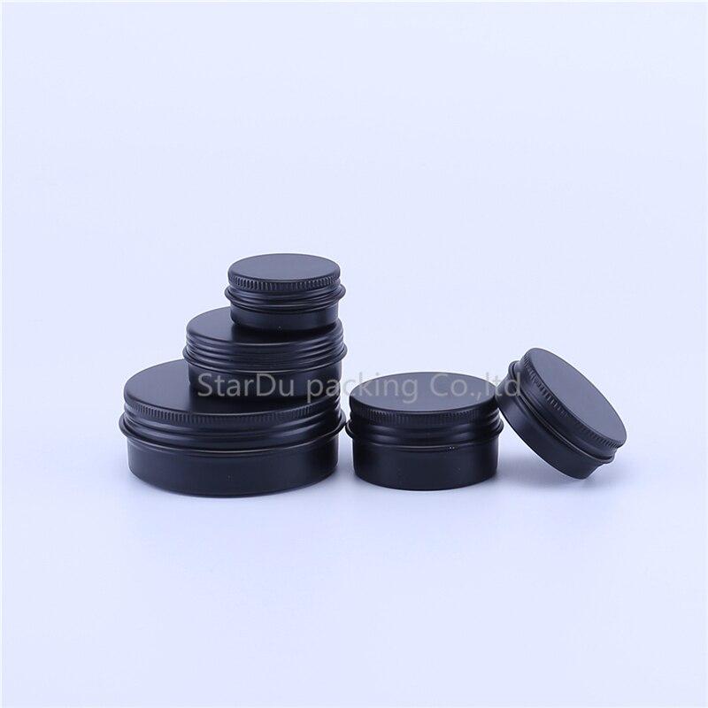 12 Uds. 10g 20g 30g 50g 60g 80g 100g 150g tarro de aluminio negro mate vacío cosmético Metal aluminio latas