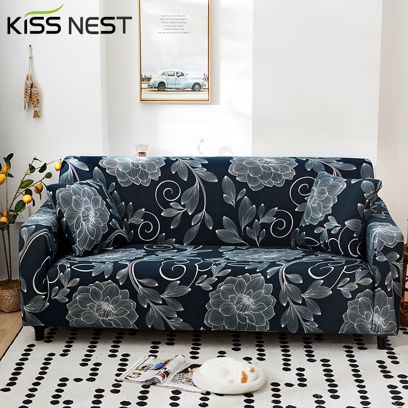 غطاء أريكة بطباعة سوداء عالية الكثافة ، طراز حديث ، مناسب لمقاعد 1 و 2 و 3 و 4