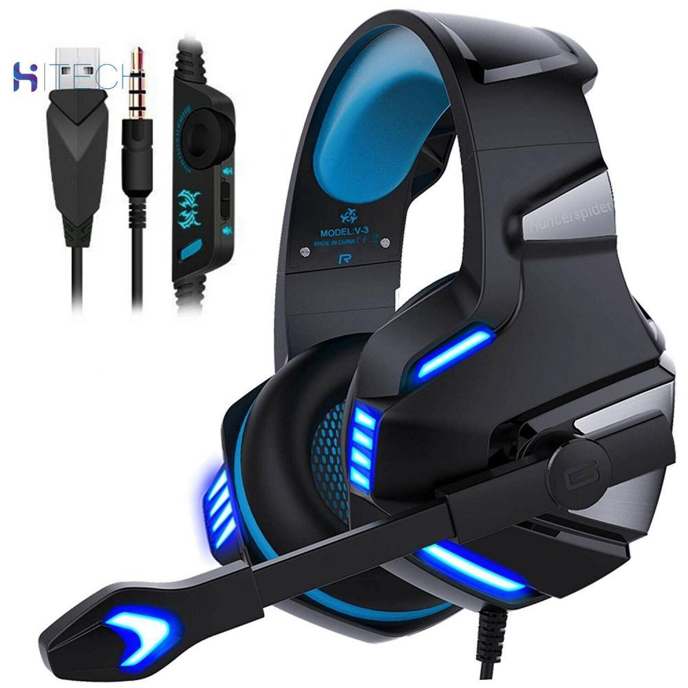 Auriculares de V-3 Hunterspider para juegos, micrófono LED, auriculares de graves profundos con luz LED de micrófono para PC PS4 PRO Xbox one X S