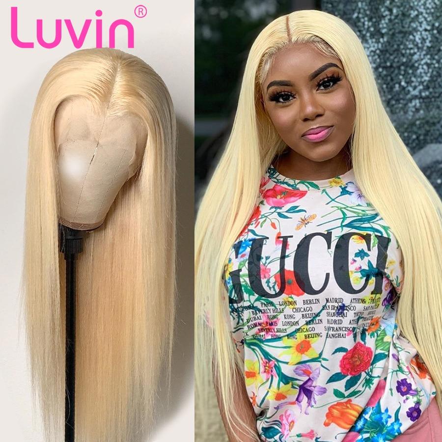 Pelucas de cabello humano Luvin rectas de encaje completo 28 30 40 pulgadas 613 Rubio brasileño HD transparente sin pegamento para mujer negra