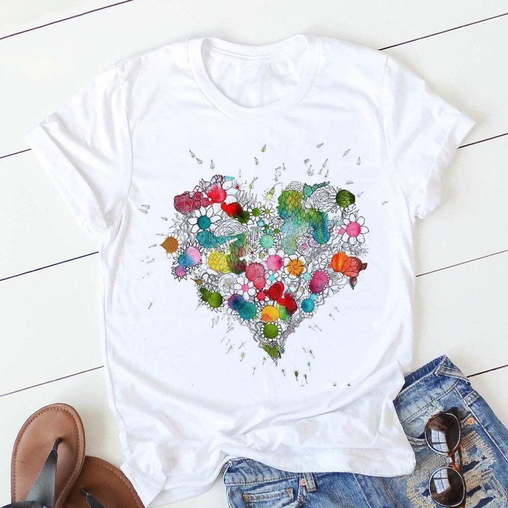 Женская футболка розового цвета с изображением сердечка цветка футболка Повседневная тонкая футболка Harajuku футболка с графикой футболка с ...