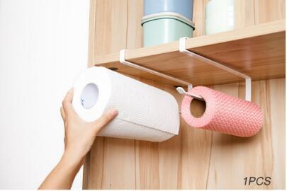 Kitchen toilet roll paper towel rack holder creative no Punch Cabinet Napkins Hanger Cling Film Storage Wardrobe Door
