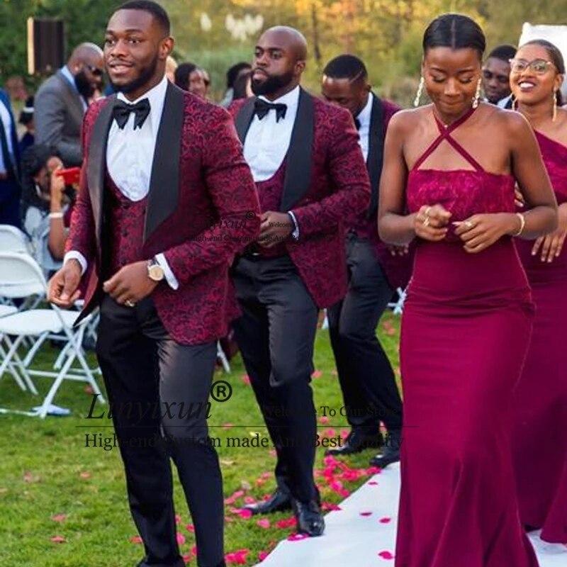 3 قطع جاكيت رجالي أفريقي منقوش بزخارف نباتية ، بدلة زفاف ، بدلة ضيقة ، لون خمري