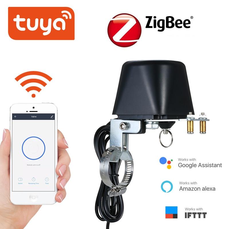 Tuya ZigBee, válvula inteligente de Control inalámbrico de Gas para agua, válvula de Control inteligente de automatización del hogar para el trabajo de Gas con Alexa, asistente de Google