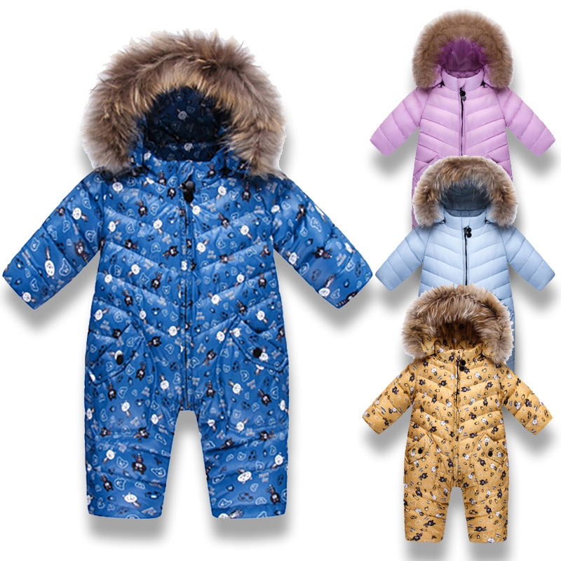 -30 Russian Winter Snowsuit 2020 Boy Baby Jacket 90% Duck Down Outdoor Infant Clothes Girls Climbing For Boys Kids Jumpsuit 1~3y