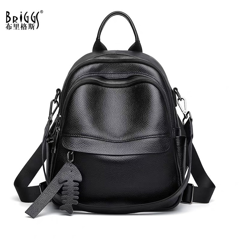 BRIGGS Soft Genuine Leather Women Backpack Fashion Female Travel Knapsack Daily Casual High Quality Rucksack Student School Bag