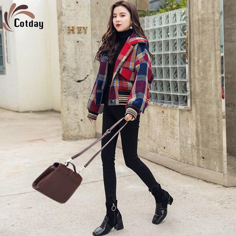 Cotday-معطف نسائي من مزيج الصوف ، ياقة قصيرة مدورة ، معطف شتوي أنيق على الطراز الكوري ، 2020