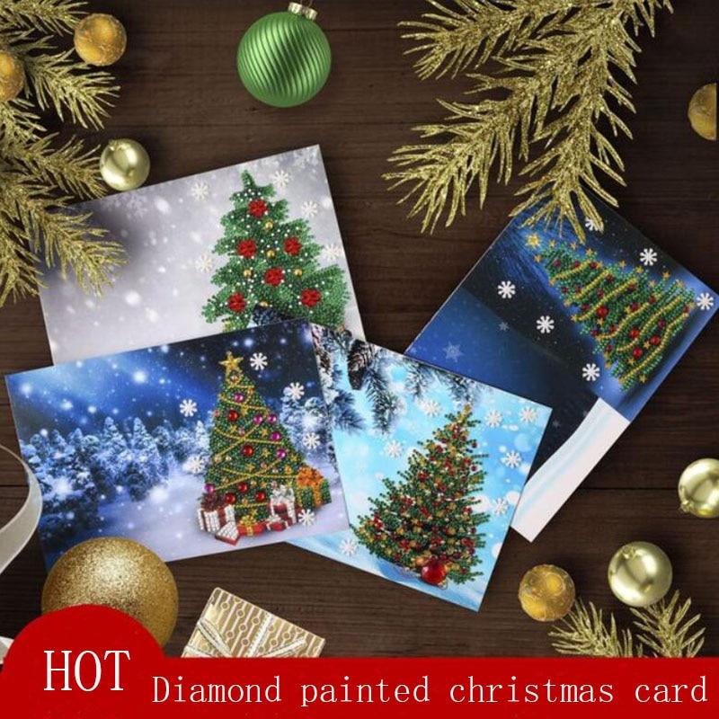 5D DIY pintura de diamante tarjeta de felicitación Forma especial bordado de diamantes para navidad tarjetas de árbol postales cumpleaños regalo de Navidad