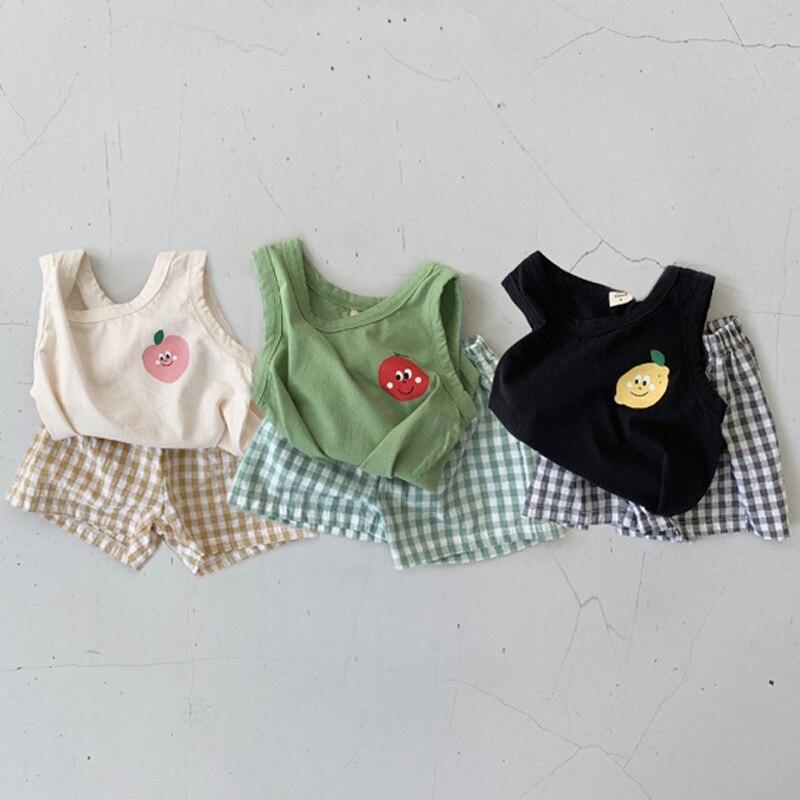 2017 new summer baby clothing set cotton cute pattern vest 2021 New Summer Toddler Boys Clothes Set Soft Cotton Sleeveless Lemon Vest Tops + Plaid Shorts 2pcs Baby Girls Clothing Set