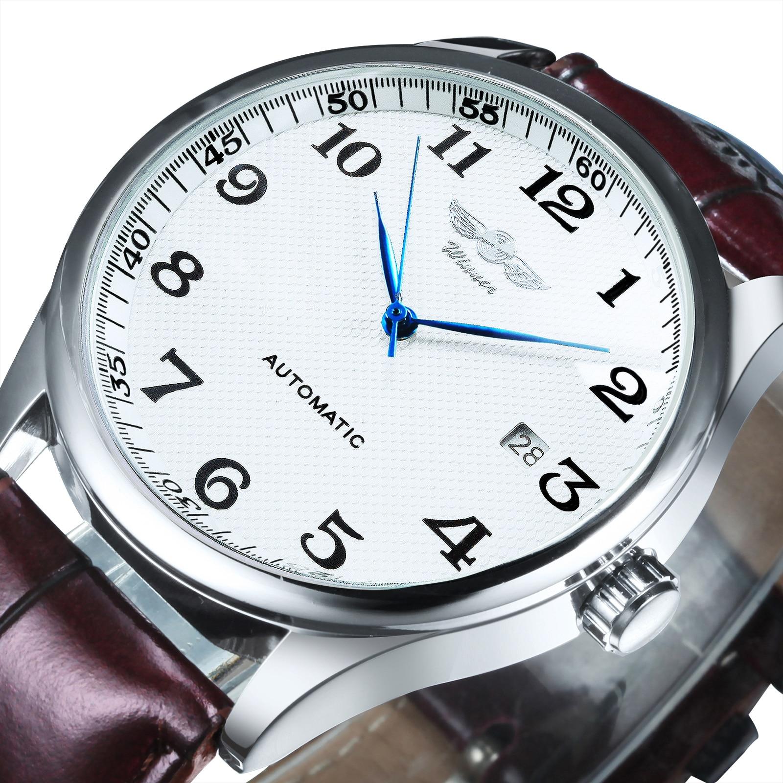 Automático para Homem Pulseira de Couro Vencedor Simples Relógio Mecânico Masculino Relógios Data Exibição Moda Casual Minimalista Orologio Uomo