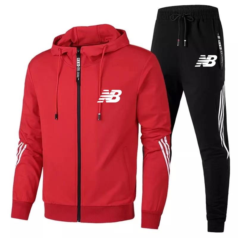 2021 2 Pieces Men's Suit Zip Jacket Sweatpants Sportswear Men's Brand Men's Zip Jacket Suit Quality Sportswear