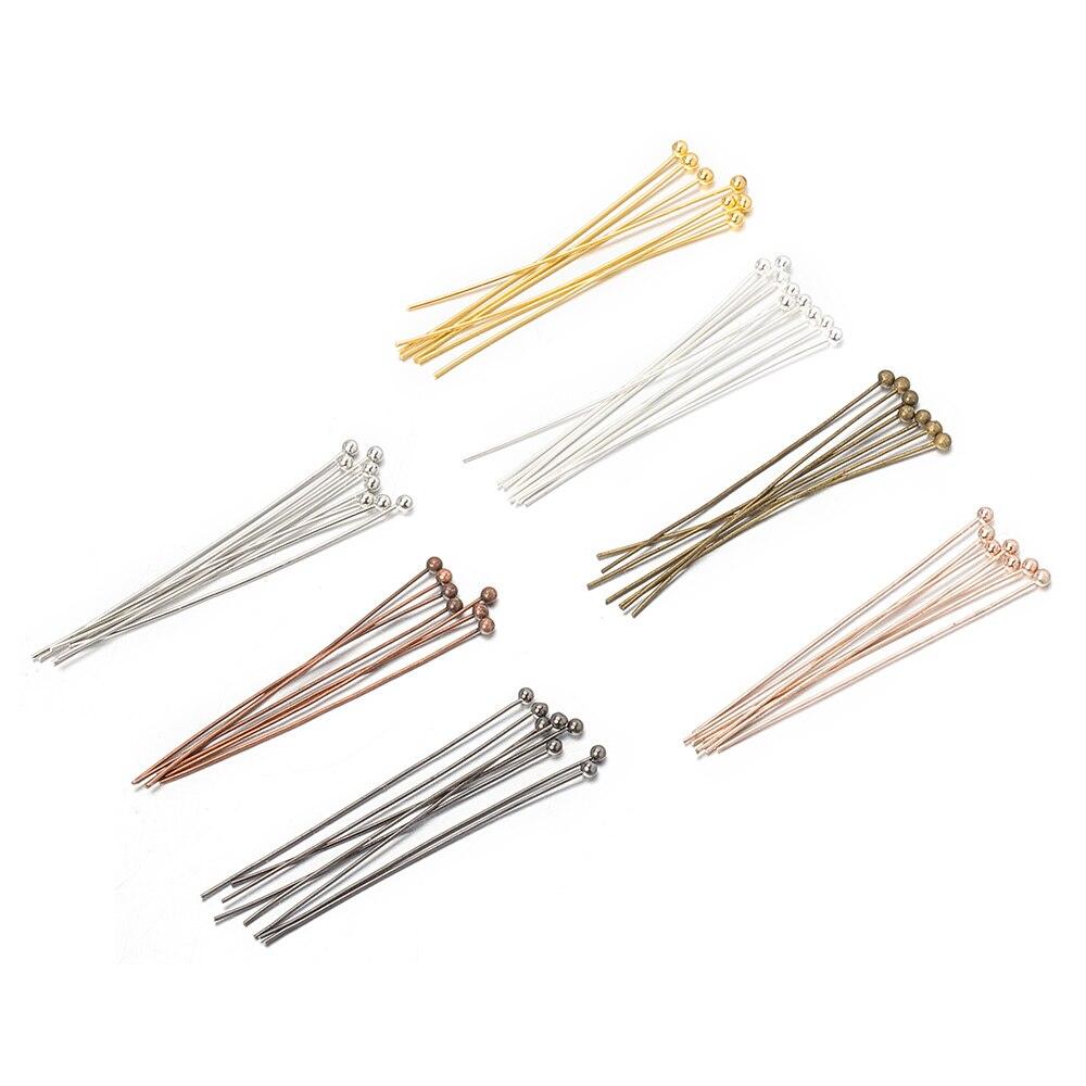 200 pçs/lote 20/25/30/40/50mm(24 calibre) 6 cores banhado a ouro metal bola cabeça pinos para diy jóias frisado acessórios descobertas