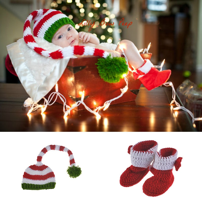 Children's Long Tail Hat Shoes Handmade Photography Suit Baby Wool Knitted Shooting Knitting Props In Stock