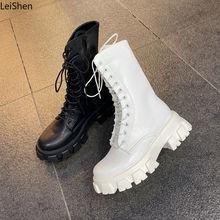 Botas-bottines à semelles compensées pour femmes, chaussures en cuir noir de printemps, chaussures Oxford, collection à lacets