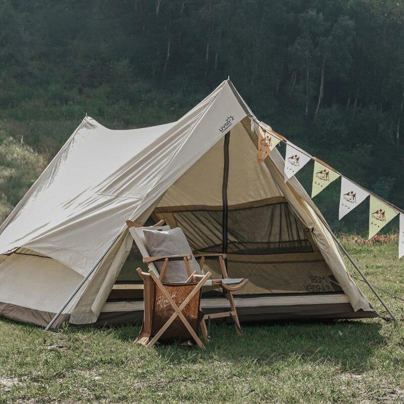خيمة تخييم علوية من البوليستر والقطن خيمة تخييم فاخرة في الهواء الطلق كابينة عائلية خفيفة من 2-3 أشخاص مع معدات تخييم أرضية