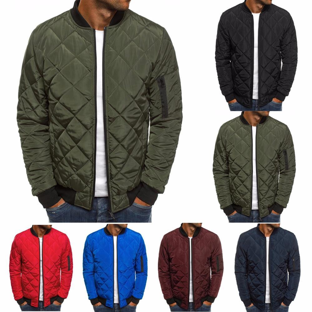 ZOGAA Mens Autumn Jacket Coat Wind Breaker Casual Plaid Men Parka Solid Color Outerwear Winter Jacke