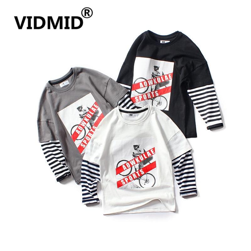 VIDMID big boys rayas camisetas ropa niños bebés niños algodón manga larga tops ropa niños Ropa Camisetas 4102 29