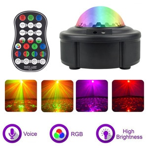 Starry Sky Projector Lamp Water Pattern Remote Control Colorful Night Light Bar KTV Stage Light Children Birthday Gift Present
