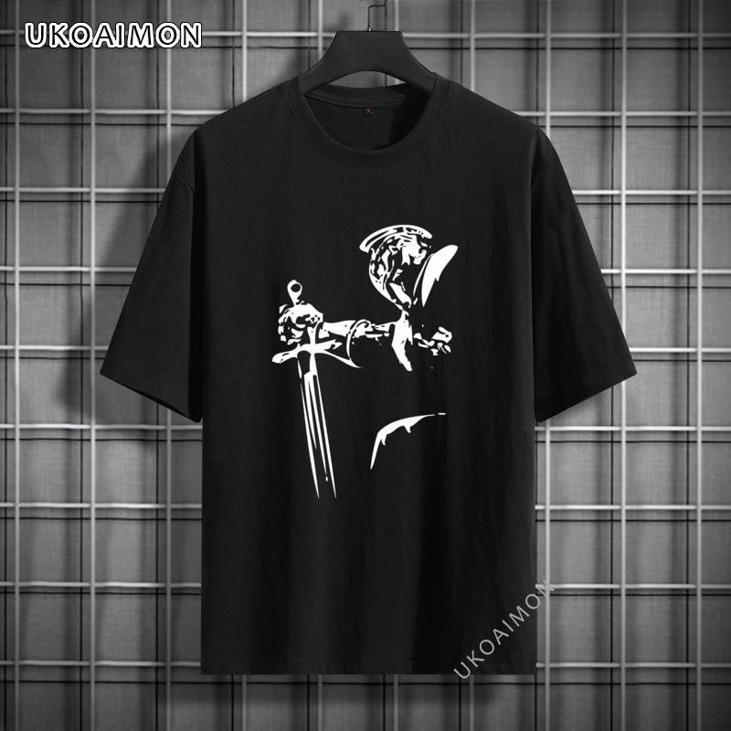 Лидер продаж, уличные топы с принтом рыцаря и меча, футболка, дешевые индивидуализированные топы, футболки, 100% хлопок, фотография комиксов