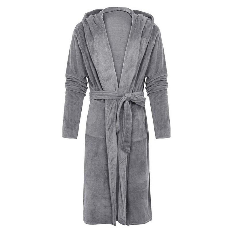 Зима халат мужчины фланель с капюшоном толстый повседневный зима осень длинное кимоно халат теплый дом одежда для сна ванна халат пижама ночная рубашка