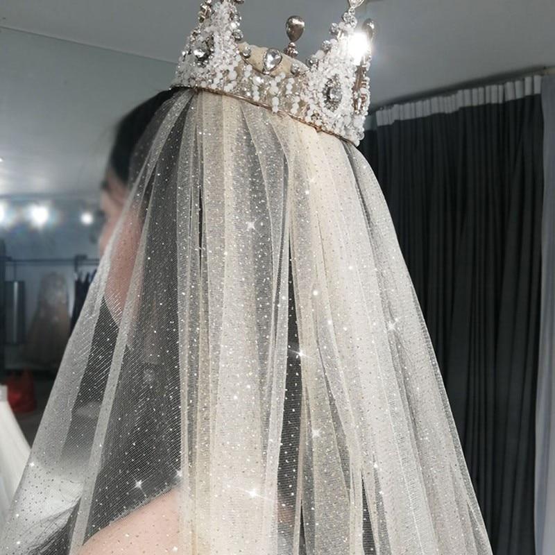 Nova moda 3x3.5 metros ouro prata blings glitter véus casamento noiva sparkel longo véu nupcial acessórios de casamento