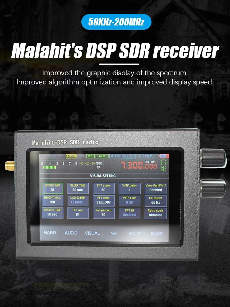 1.10C SDR استقبال الملكيت 50Khz-2GHz برنامج الراديو مع 3.5 بوصة لمس شاشة LCD محلل الطيف DSP الحد من الضوضاء