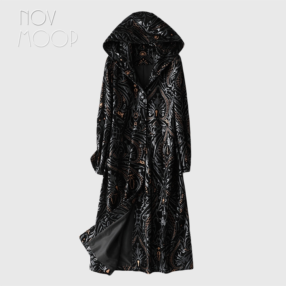 Novmoop-معطف نسائي بقلنسوة من جلد الغنم ، معطف طويل للخريف/الربيع ، نمط رقيق ، LT3289