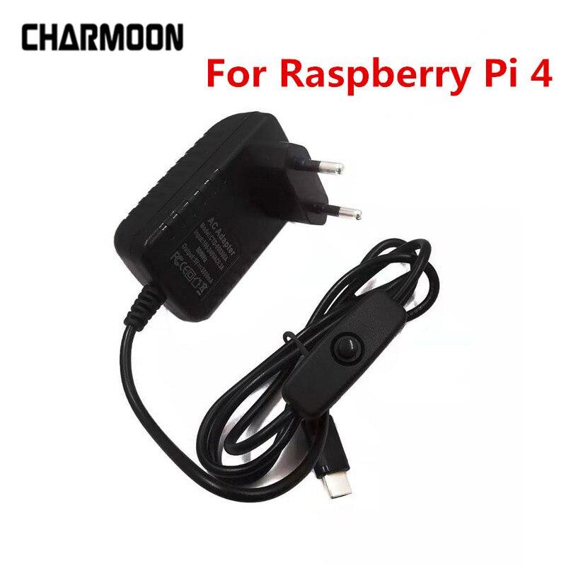 5 в 3A Raspberry Pi 4 блок питания Type-C адаптер питания с переключателем вкл/выкл EU US AU UK зарядное устройство для Raspberry Pi 4 Model B
