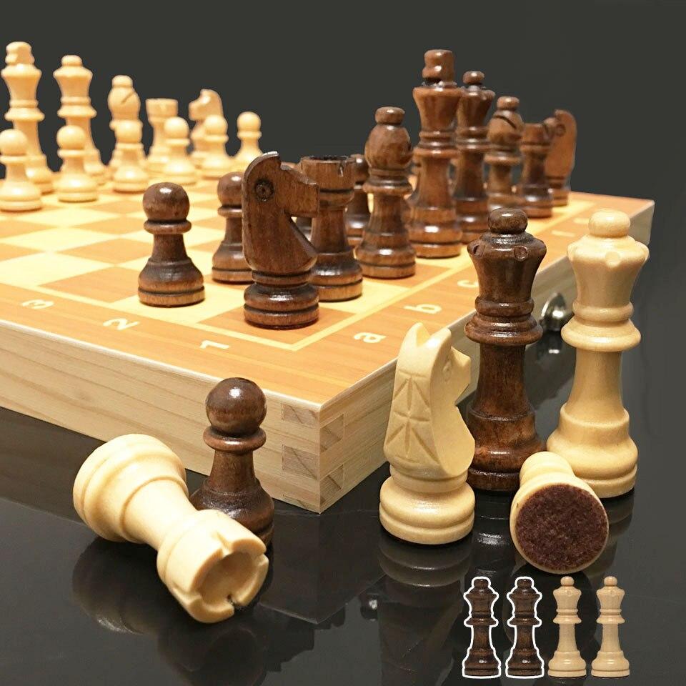 Juego de ajedrez de madera magnético de 4 reinas, juego de ajedrez Internacional, piezas de ajedrez de madera, tablero de ajedrez de madera plegable, juguete de regalo I55