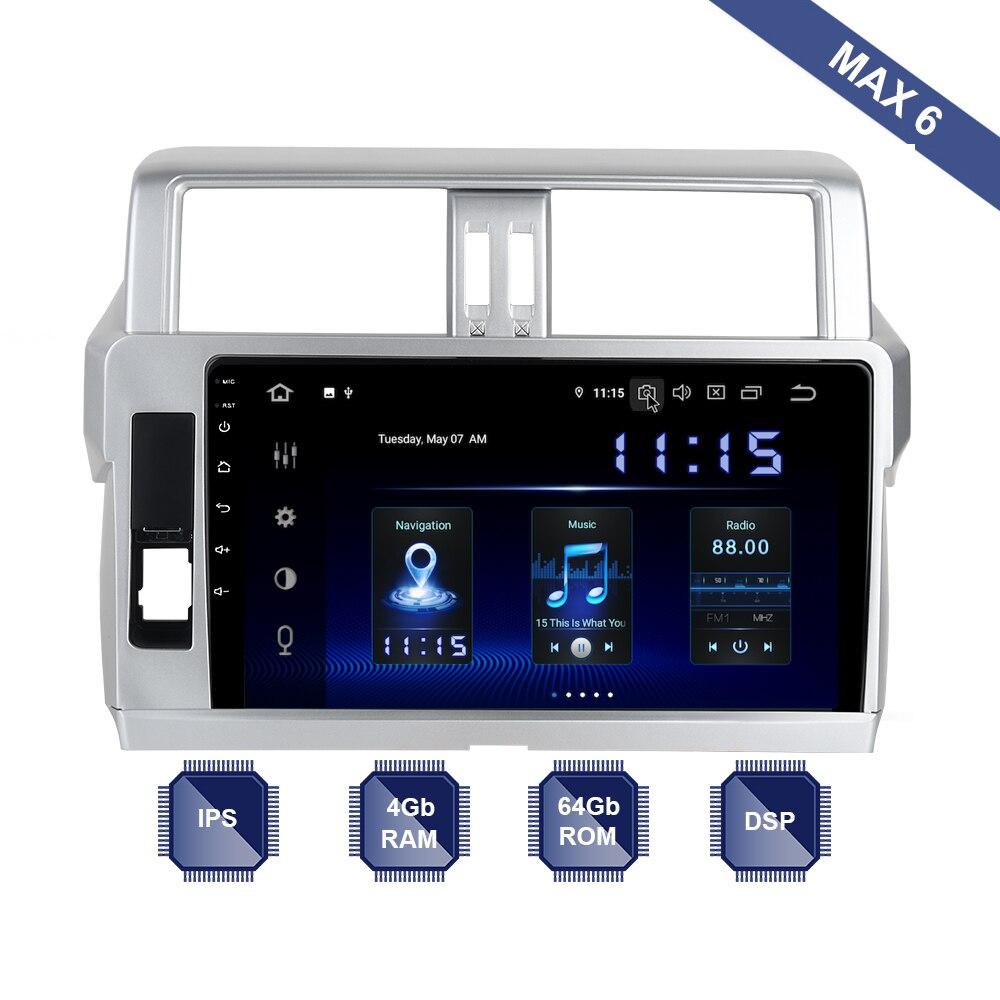 Android 9.0 Car Radio 2 Din GPS Navi for Toyota Prado 150 2013 2014 2015 - 2018 PX6 DSP IPS Screen 4Gb+64Gb 8-Core RDS WIFI BT