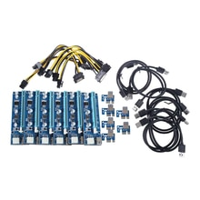 6 Pack PCI-E PCI Express Riser Card 1X to 16X USB 3.0 Extender Graphic Card Adapter Molex 6Pin to SA