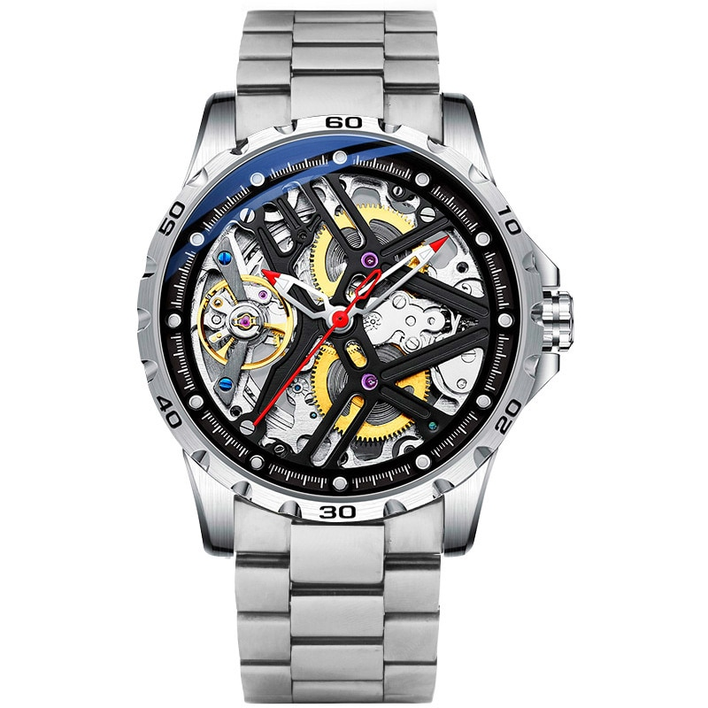 New Hollow Out Personalized Full-automatic Mechanical Watch Waterproof Watch Men's Cool Watch Fashion