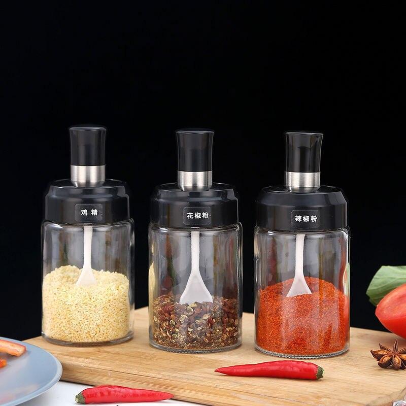 التوابل يمكن غطاء ملعقة متكاملة المطبخ صندوق توابل فرشاة النفط العسل زجاجة الزجاج الرطوبة برهان شفاف التوابل