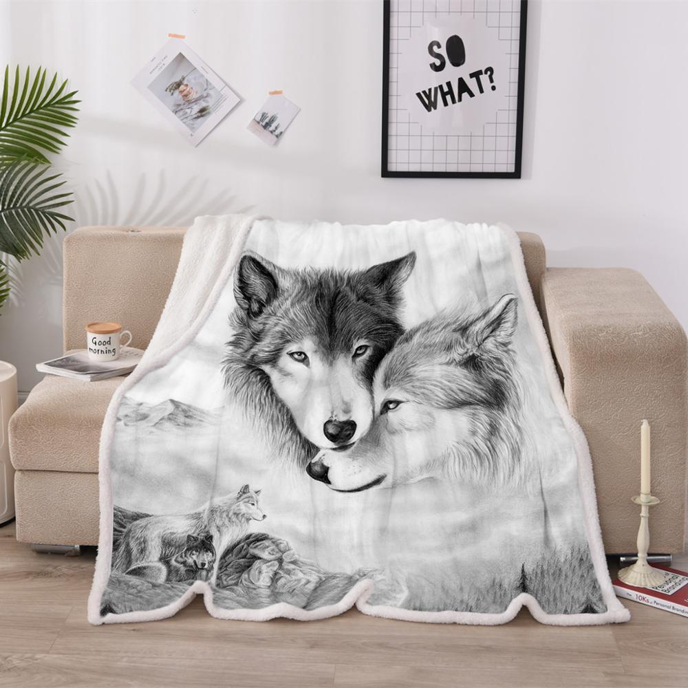 Envío Gratis, ropa de cama Global Wolf Couple, manta impresa en 3D, funda de cama, manta de franela de lana de cordero, tapiz de otoño e invierno