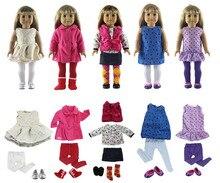 Lot de 18 articles = 5 ensembles de vêtements, 5 paires de chaussures, 5 paires de chaussettes, tenues pour poupée de 18 pouces