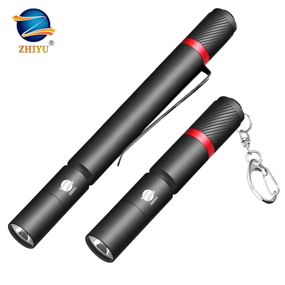 Zhiyu ultra pequeno led lanterna xpe contas de lâmpada ip67 à prova dip67 água caneta uso luz aaa bateria portátil para emergência, acampamento