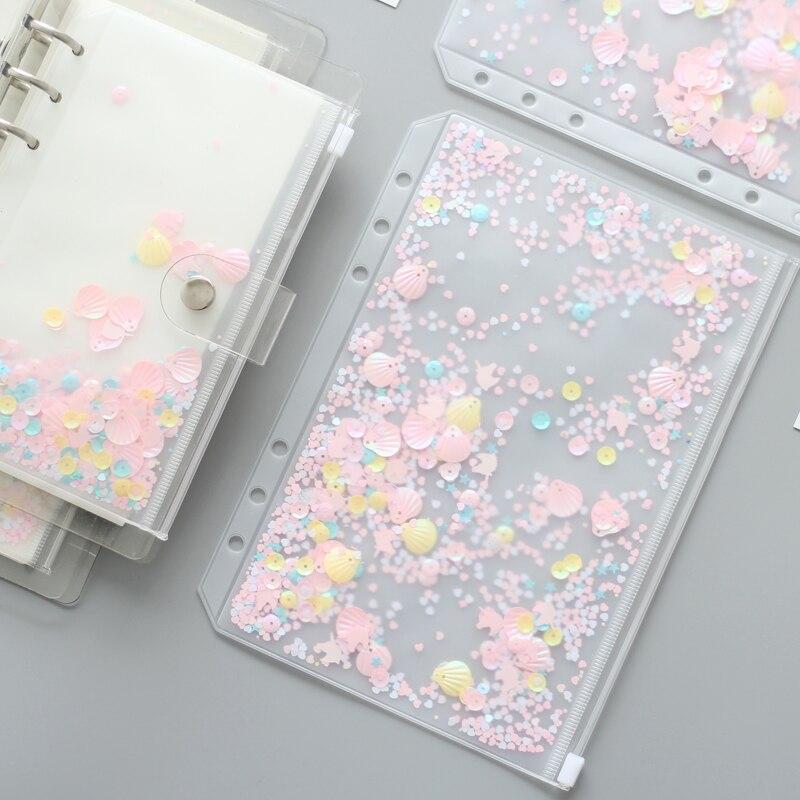 a5a6 lantejoulas espiral saco com ziper para pasta planejador acessorios diario notebook