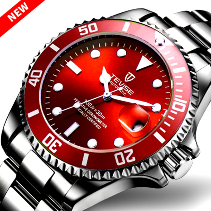 TEVISE-ساعة يد رجالية, ساعات سوداء فاخرة ، أوتوماتيكية ، ميكانيكية ، مقاومة للماء ، ساعة رجالية ، مضيئة ، تقويم