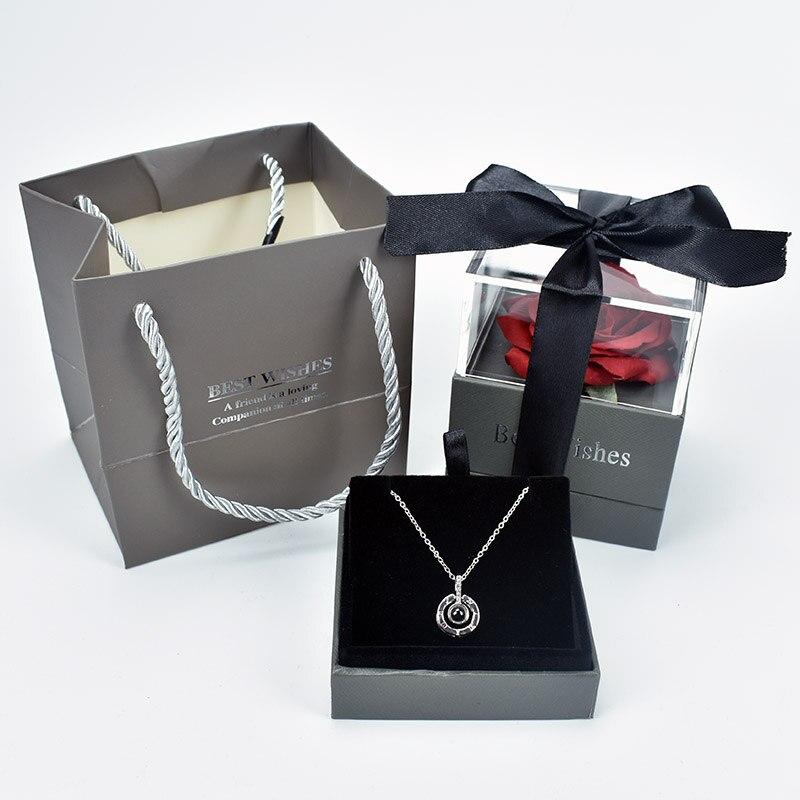 Высокое качество красивая красная роза цветок коробка ювелирных изделий с 100 языком Я ЛЮБЛЮ ТЕБЯ ожерелье для мать подруги подарок