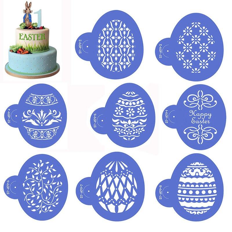 Molde para pulverizador de Pascua, molde para Tartas, plantillas, pulverizador para café, molde pintado a mano, molde para Tartas, herramientas para decorar, plantilla para Fondant hueca de huevo