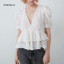 Summer new fashion ladies chiffon shirt V-neck ruffled applique decorative short-sleeved shirt short elegant casual shirt